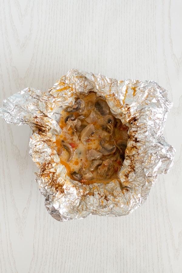 Some sauce in aluminum foil
