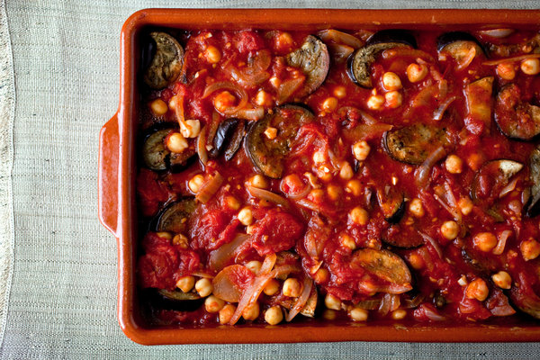 Chickpea and eggplant casserole