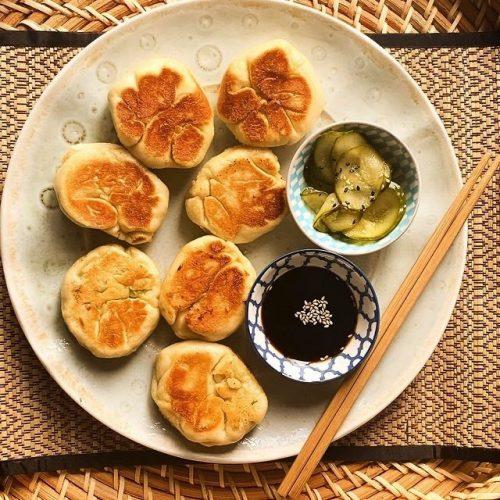 Pan Fried Vegetable Steamed Buns (Sheng Jian Bao)