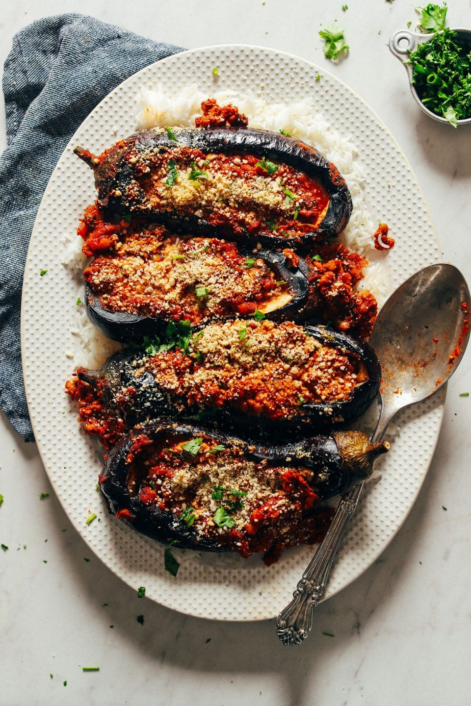 Morrocan Spiced Stuffed Eggplant