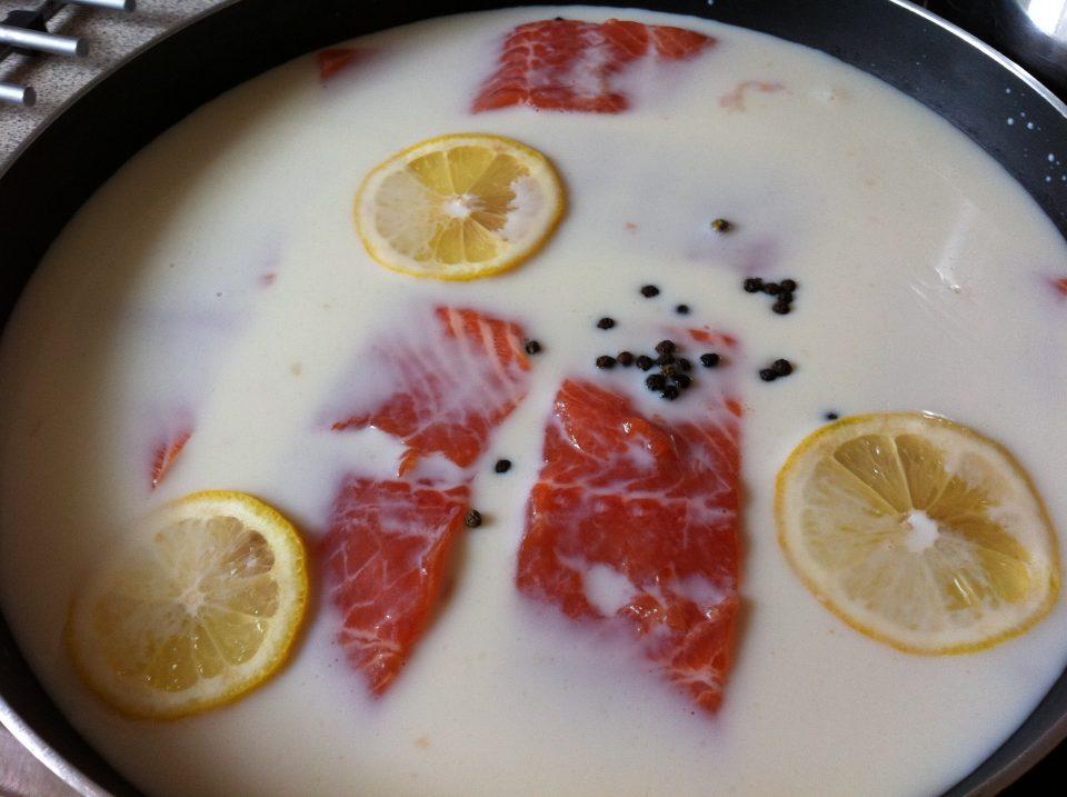 Salmon in milk