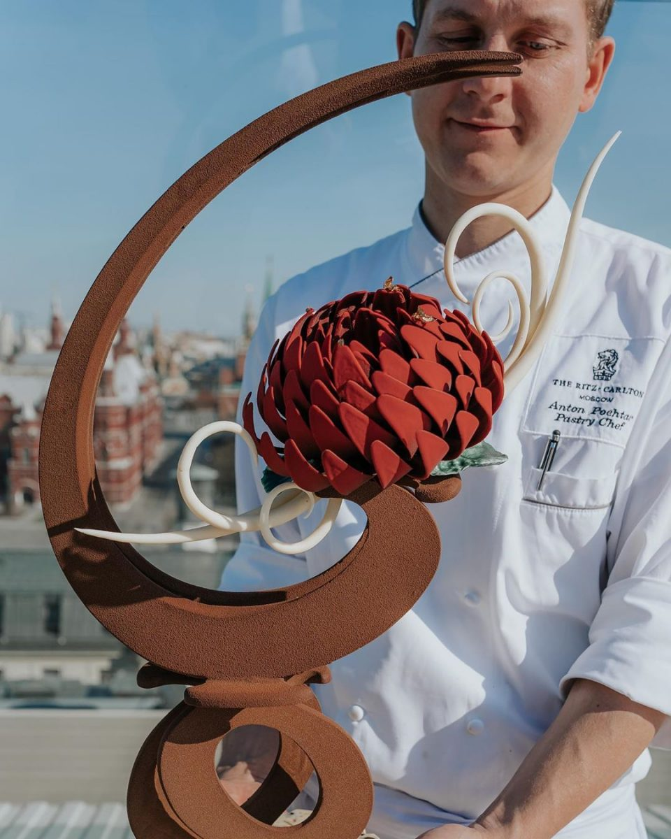 Chef Anton Pochtar with his chocolate masterpiece