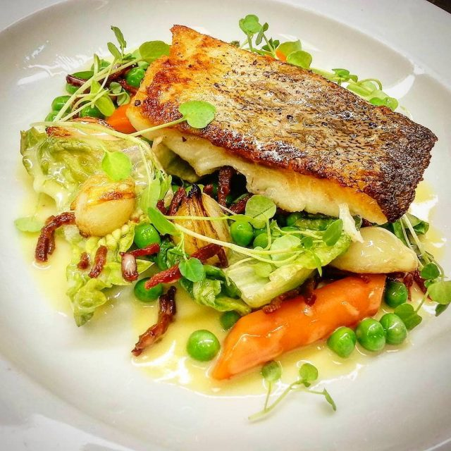 fried salmon, braised little gems , peas with summer herbs and shallots