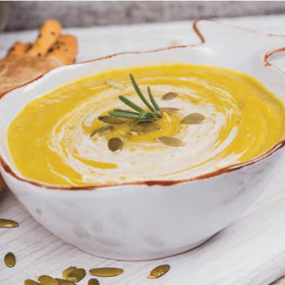 Pumpkin Cream Soup with Rosemary and Kefir