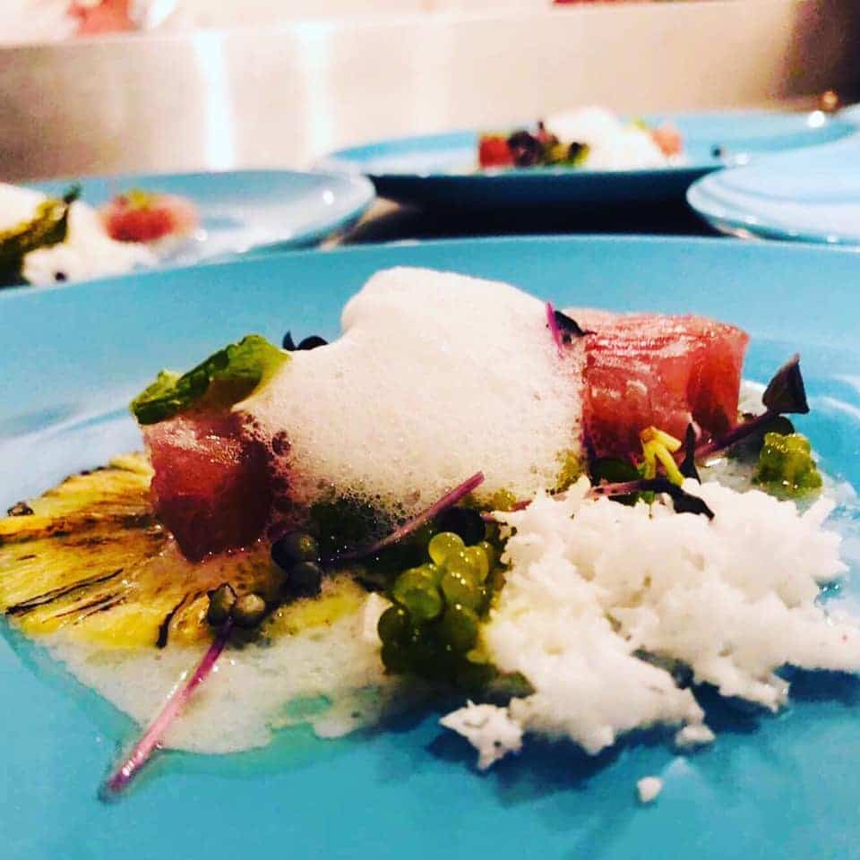 Cured Red Snapper with Coconut Sauce and Lime Foam