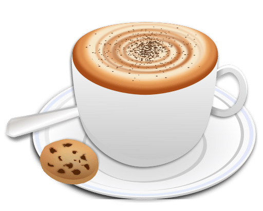 A cup of cappuccino with a cookie clipart