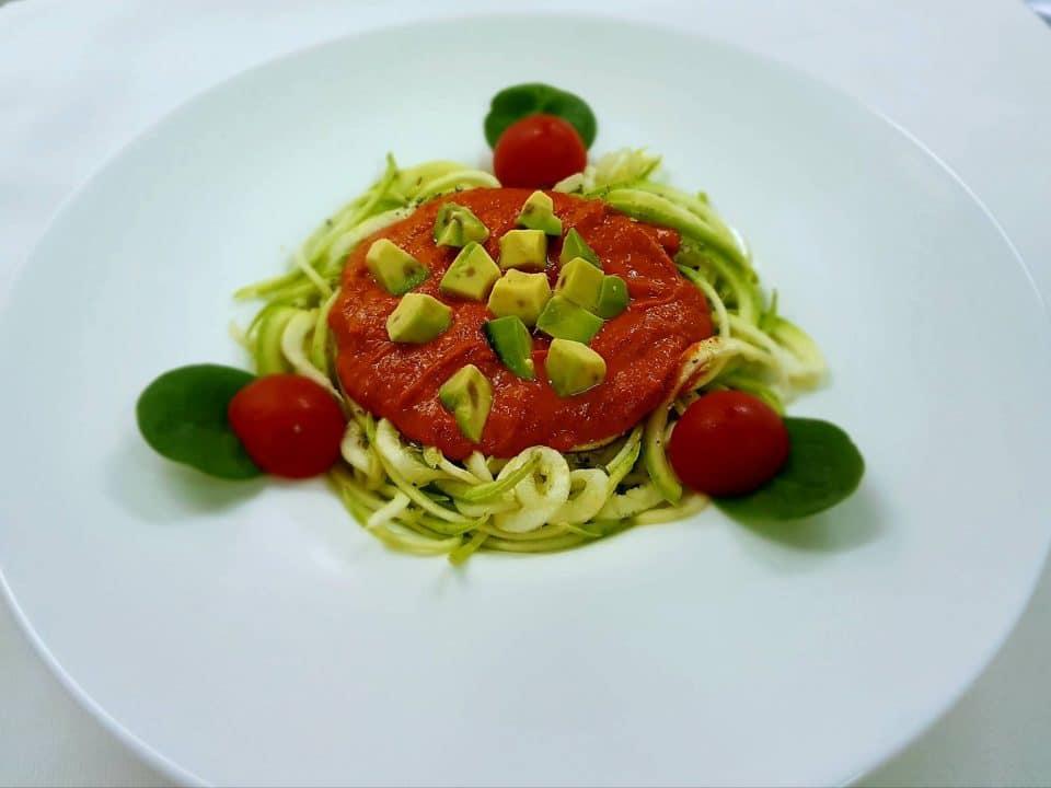 Zucchini spaghetti with avocado; Photo credit: KUIB Restaurant