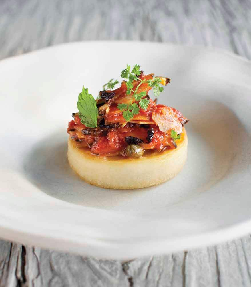 TOMATO-BRAISED ABALONE WITH FARINATA