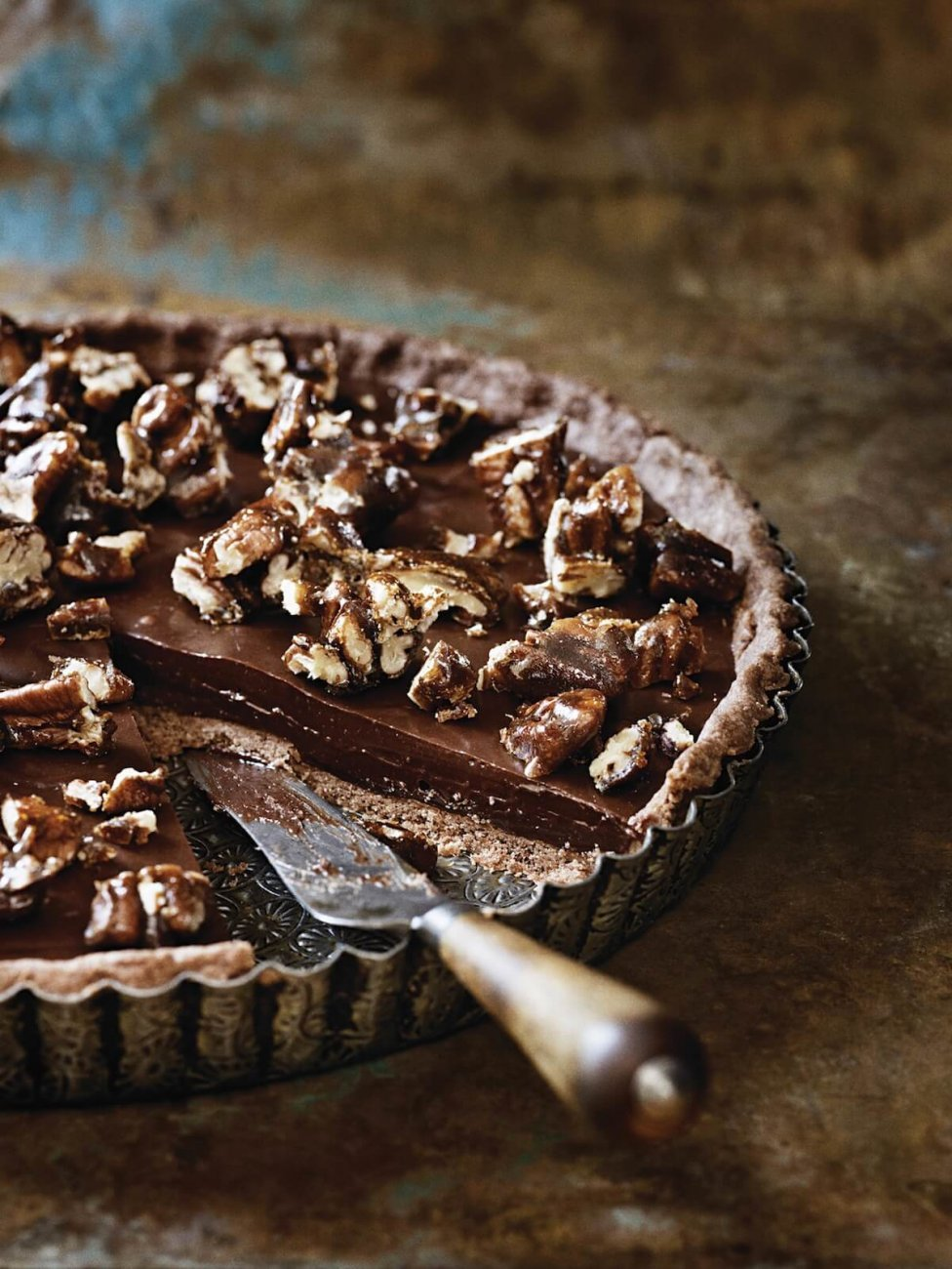 SEA-SALTED CHOCOLATE AND PECAN TART