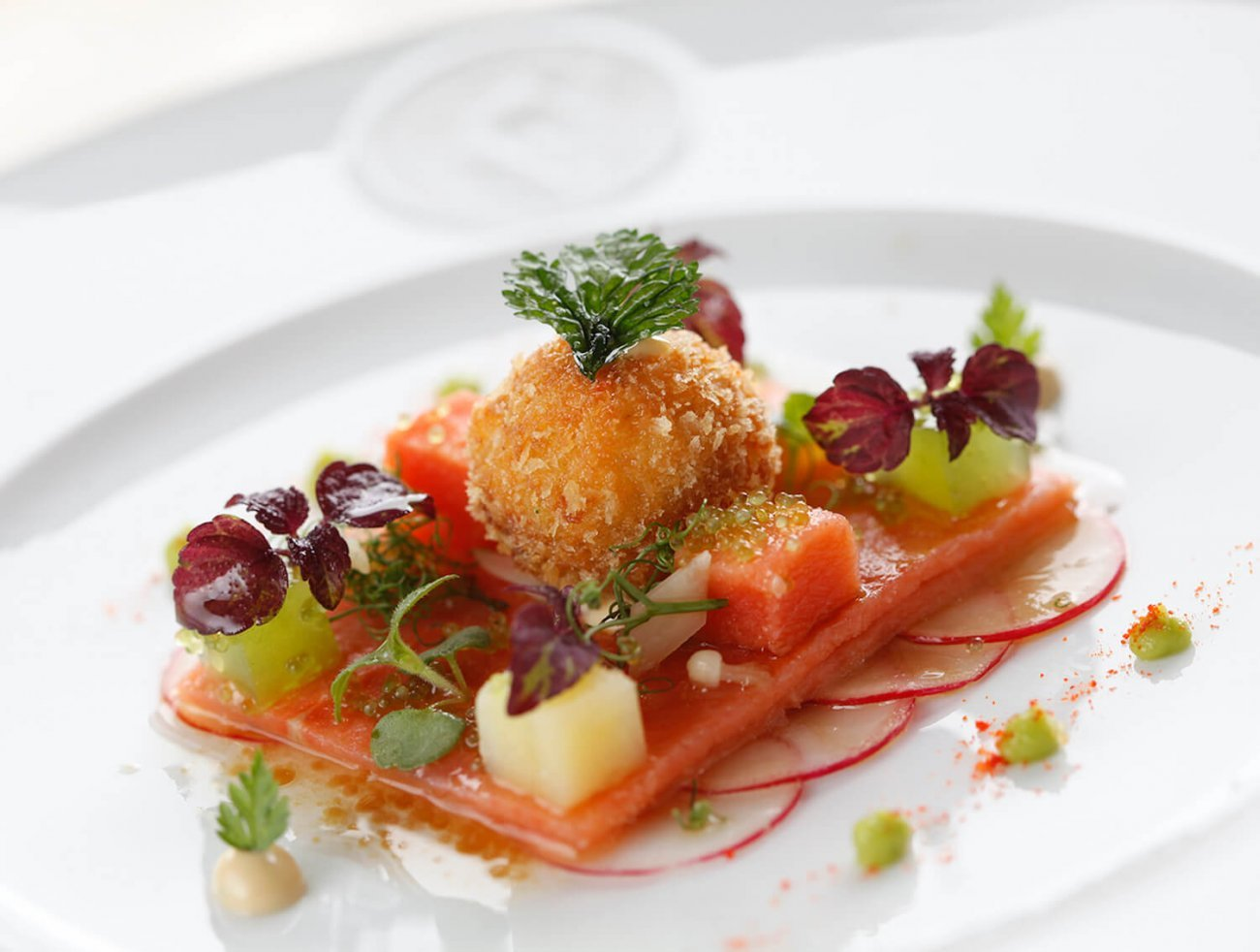 ANIS MARINATED SALMON, FLYING FISH CAVIAR, CUCUMBER JELLY, AFFILA-CRESS & GINGER