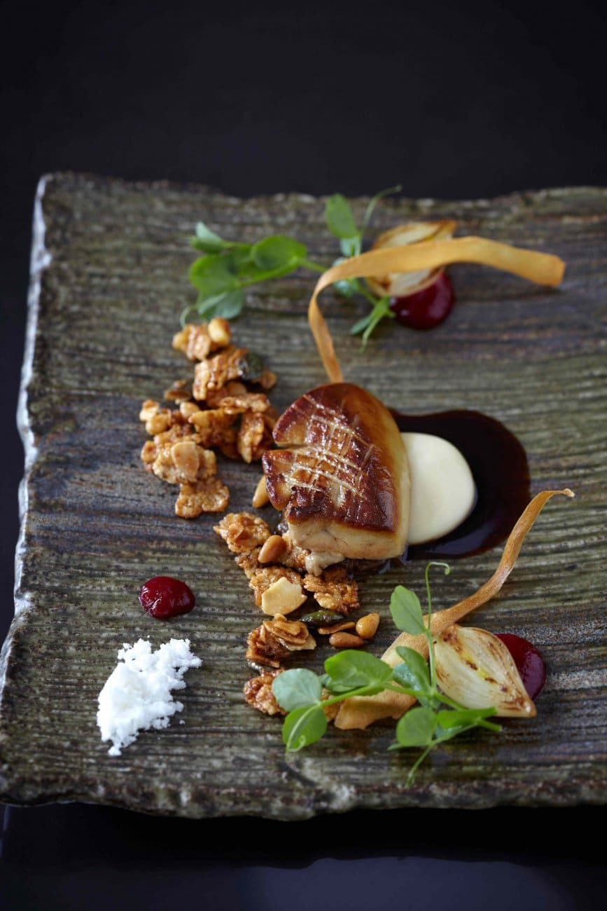 'FOIE GRAS-NOLA' & BIG NUM-NUM (SEARED FOIE GRAS, HONEY-NUT GRANOLA, PARSNIP, ONION MARMALADE)