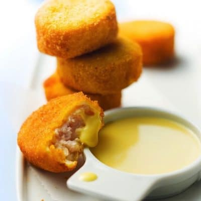 Homemade Chicken Nuggets with Gouda Cream