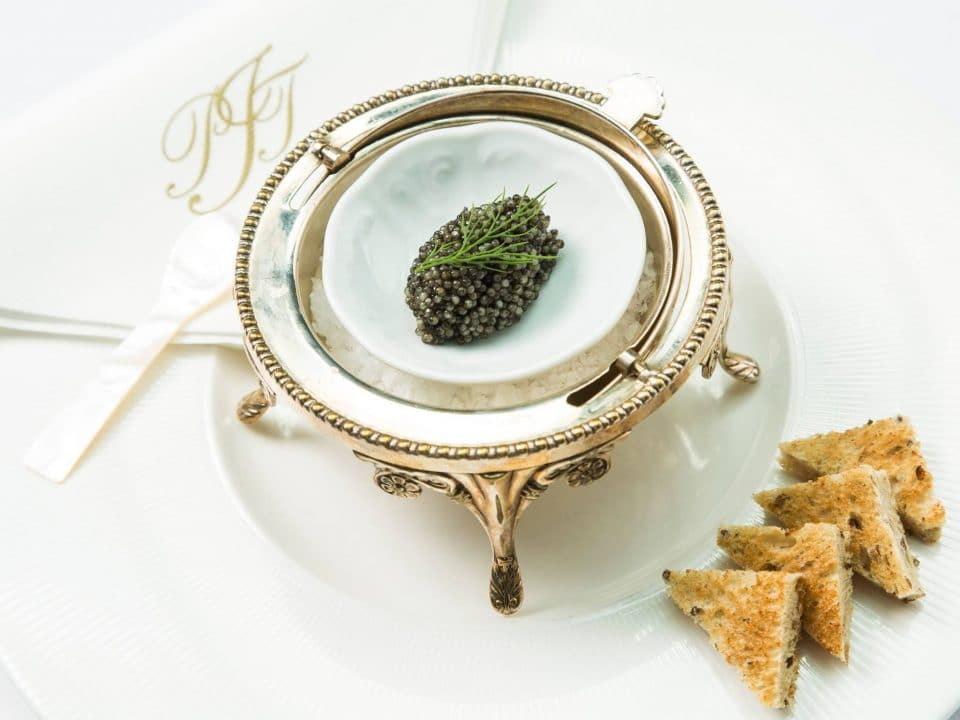 Sturgeon Black caviar with toast;