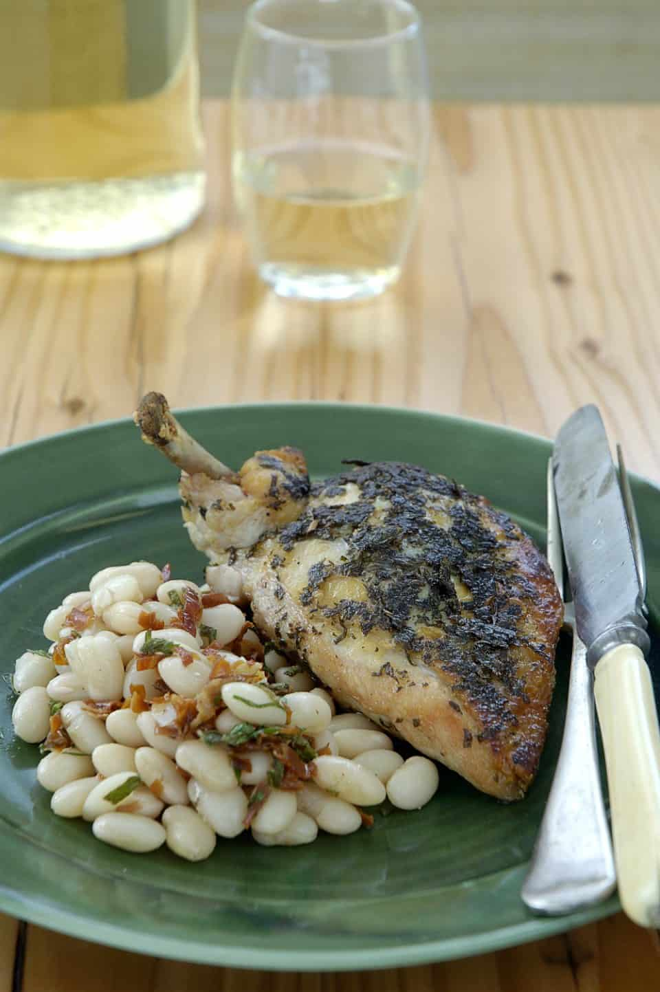 Image of Herb Marinated Chicken Breast With Prosciutto And White Bean Salad, Chefs Pencil