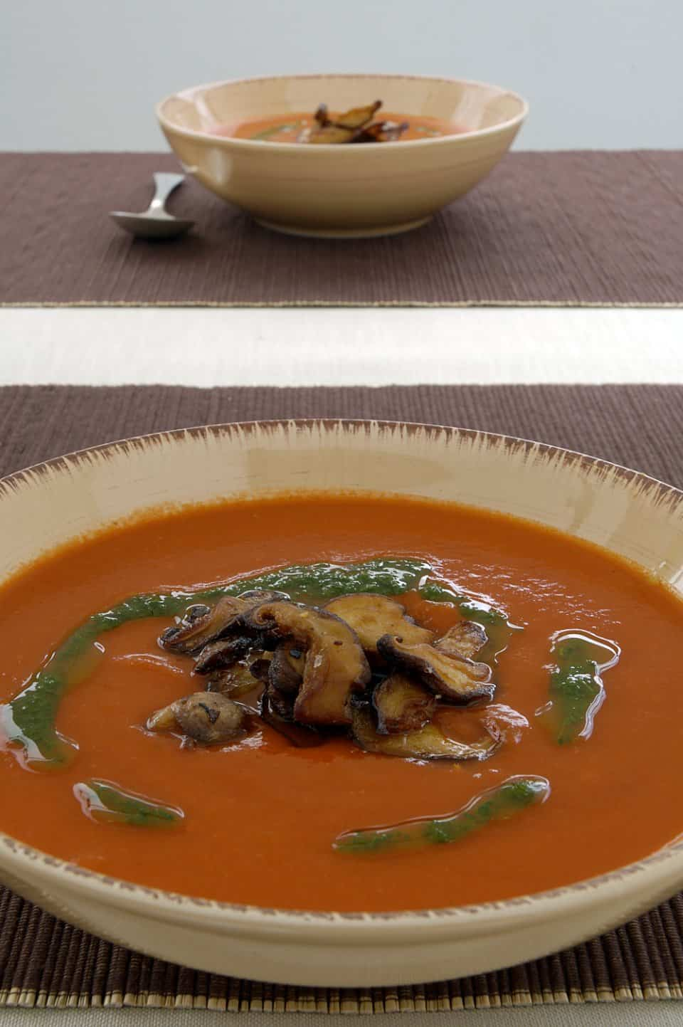 Image of Roast Pepper Soup With Garlic Shitakes And Parsley Oil., Chefs Pencil