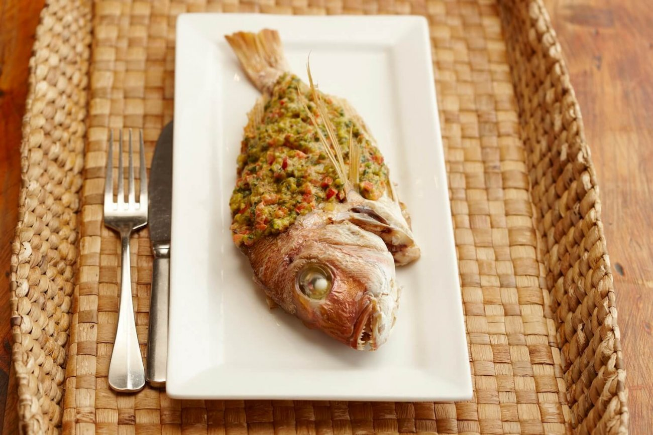 WHOLE BAKED BABY SNAPPER WITH PISTACHIO AND SAMKE HARA SAUCE