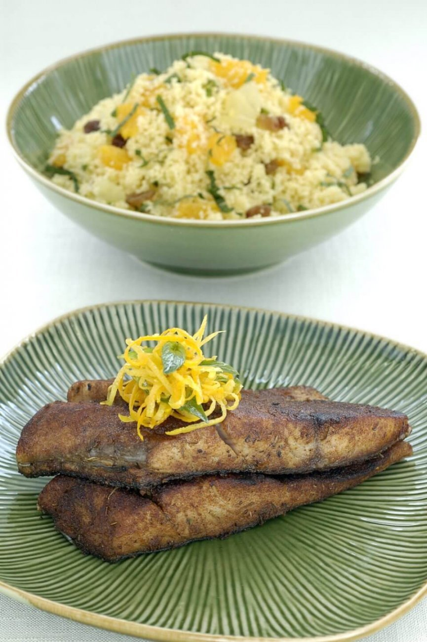 SPICED FISH ON CITRUS AND MINT COUS COUS