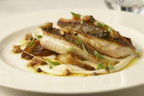 SOUTH COAST JOHN DORY, ORANGE GLAZED ENDIVE, CAULIFLOWER PUREE, CURRY OIL, PINE NUTS AND GOLDEN RAISINS