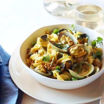 Fresh Egg Fettuccine with Manila Clams and Spicy Sausage