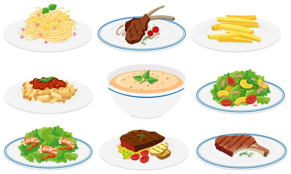 Set of healthy dishes illustration by @brgfx