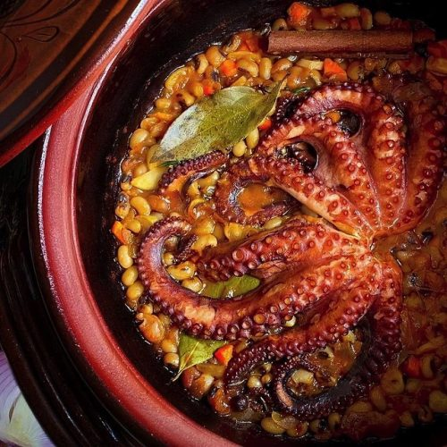Octopus with Black Eyed Beans