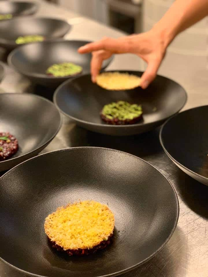 Beetroot tartar with wild garlic, shiso and cured egg yolk.Photo credit: ORE