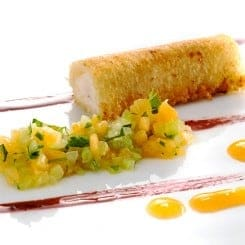 SEA BASS CRISPY CANNOLO WITH MELON AND CELERY SALAD