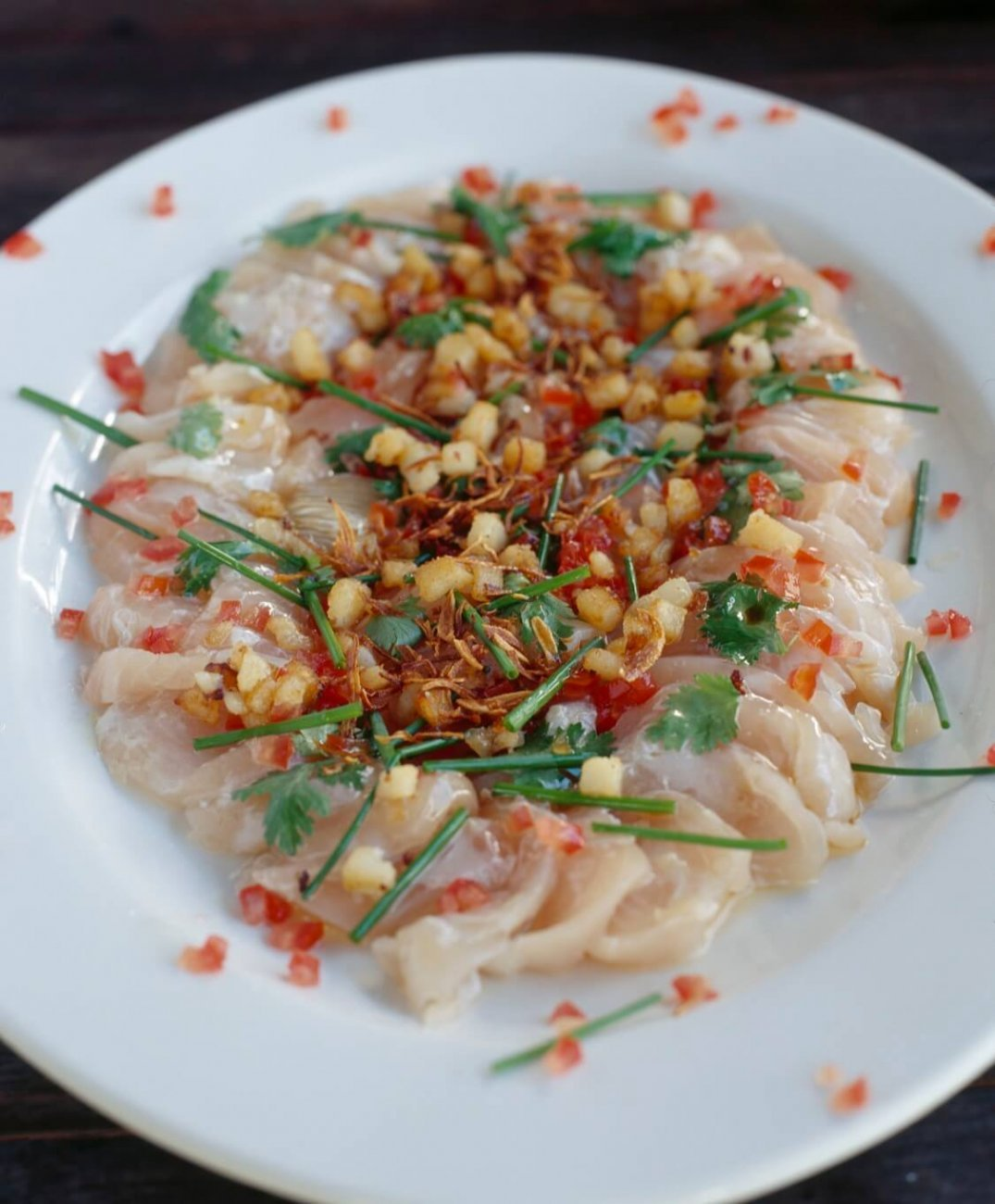 SASHIMI WITH HOT SHALLOT OIL AND CHILLI