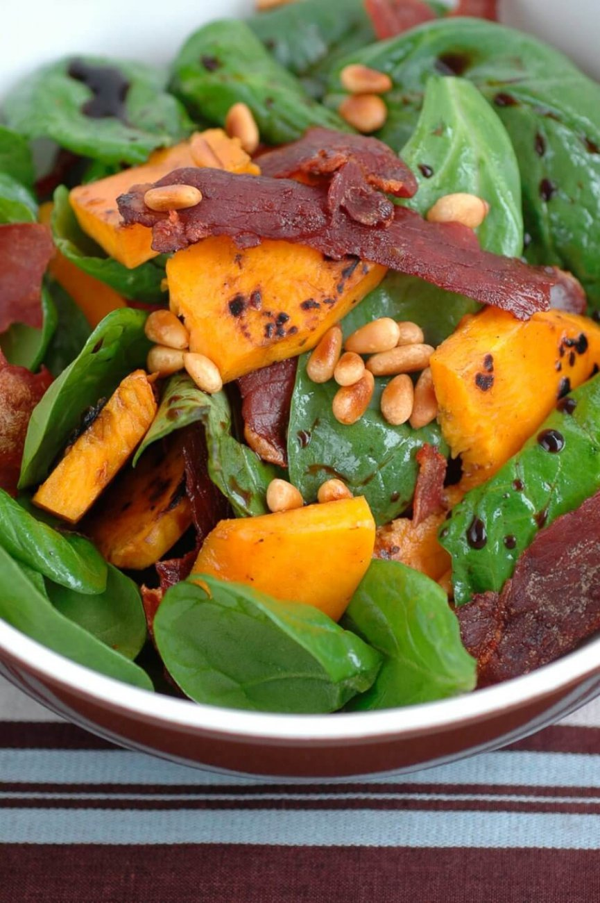 SPINACH AND BUTTERNUT PUMPKIN SALAD WITH CRISPY PROSCIUTTO