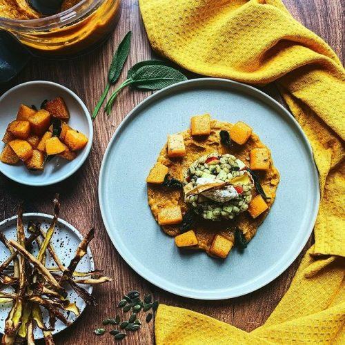 Zero Waste Butternut Squash, Apple & Barley Salad with Salsa Verde Mascarpone