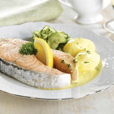 Boiled Oslo Salmon with Cucumber Salad and Butter Sauce