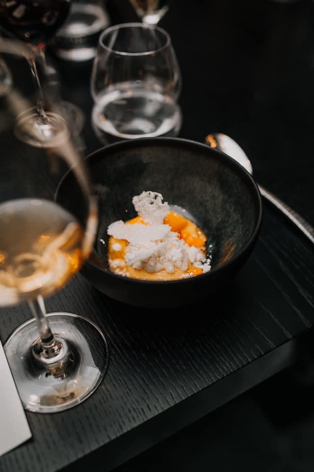 Seabuckthorn dessert with macadamia praline and seabuckthorn sorbet;  Photo credit: ORE