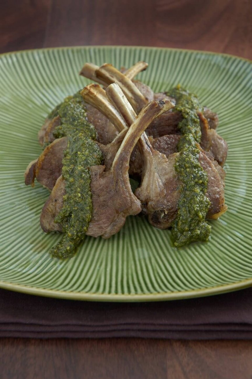 GRILLED LAMB CUTLETS WITH MINT AND WALNUT PESTO