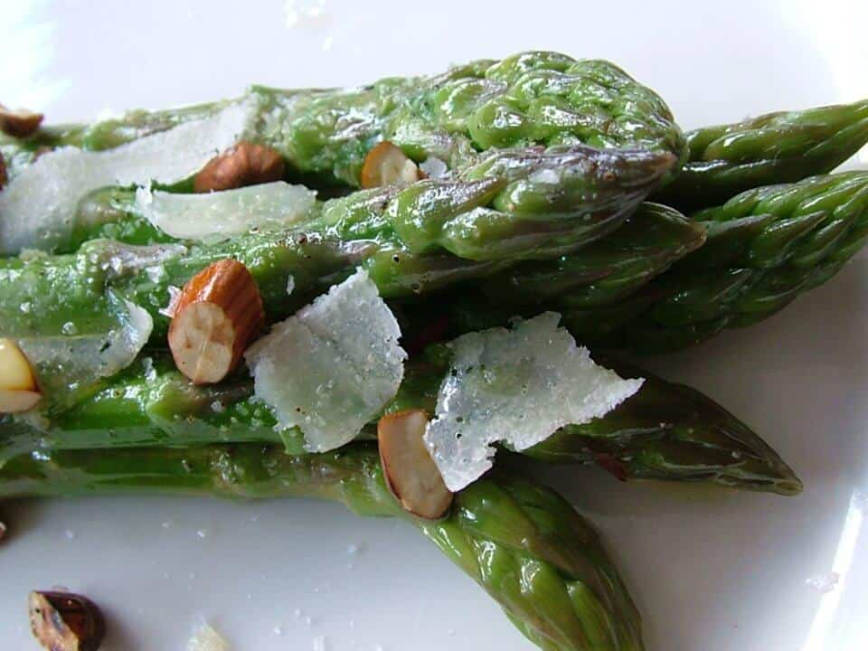 CHAR GRILLED ASPARAGUS WITH ROASTED ALMONDS AND PARMESAN