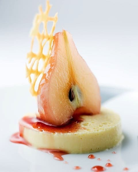 Poached Pear with Vanilla, Blackcurrant and Coffee Fondant