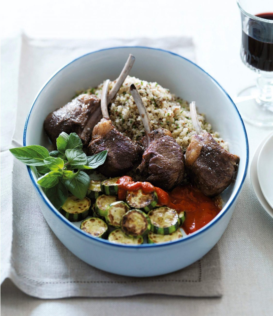 DOUBLE LAMB CUTLETS WITH QUINOA AND CAPSICUM SAUCE