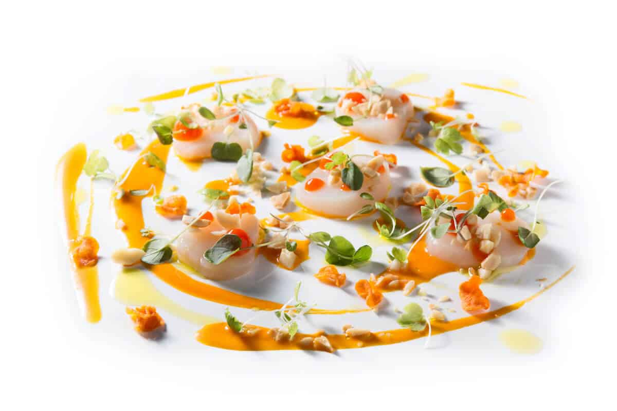 SCALLOP CRUDO WITH CARROT VINAIGRETTE