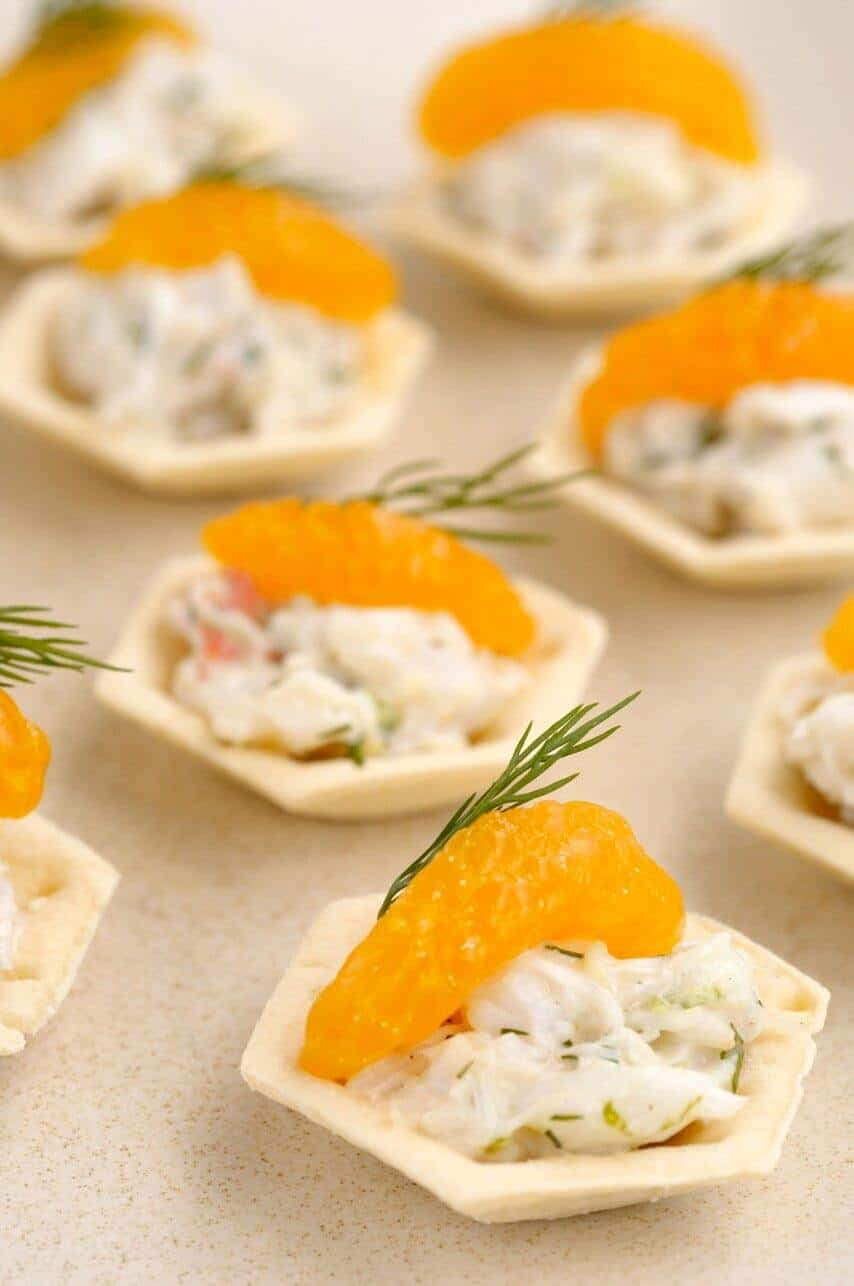 CRAB, DILL AND MANDARIN SHORTCRUST CUPS
