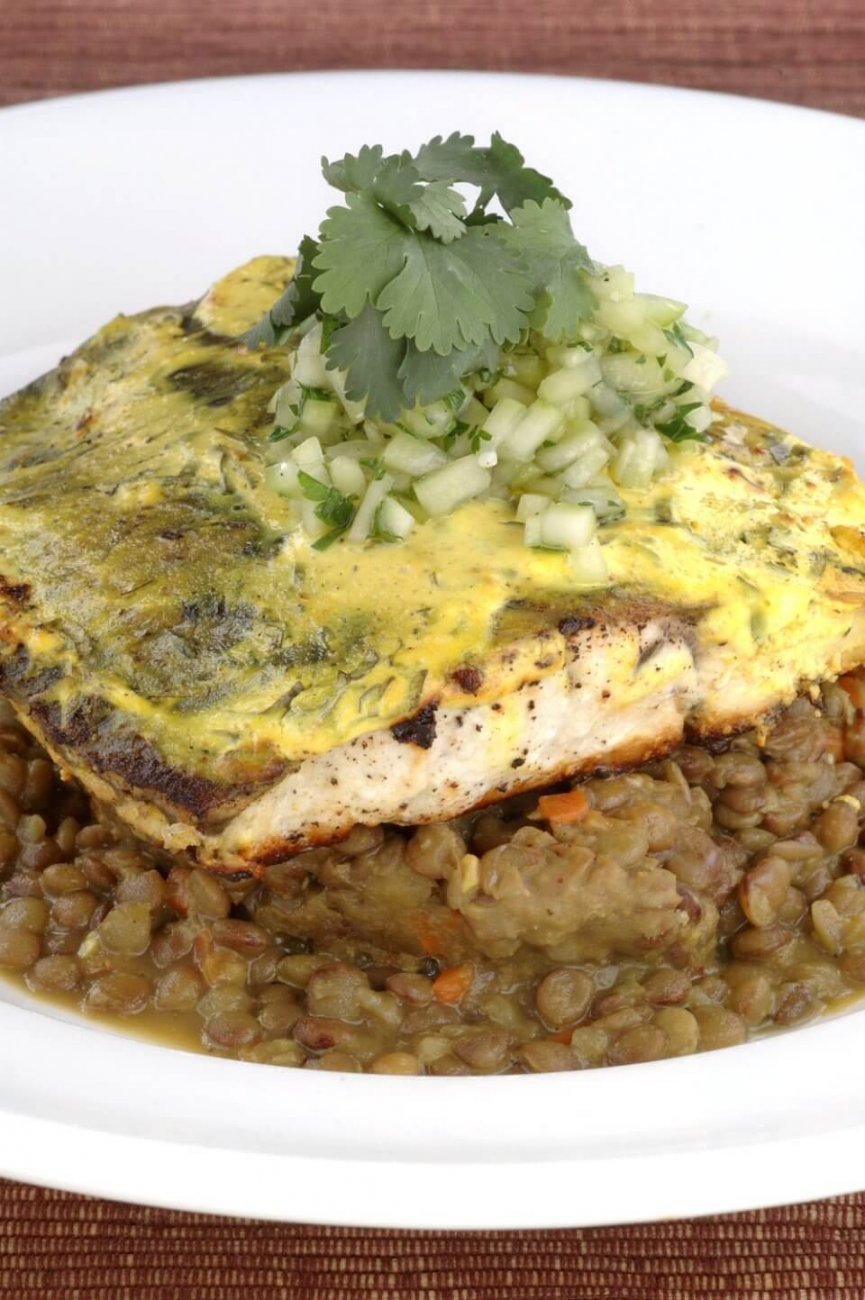 CORIANDER AND LEMON CRUSTED BARRAMUNDI WITH SPICED LENTILS AND CUCUMBER MINT SALSA