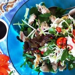 BARBEQUED CHICKEN AND FRESH MINT SALAD WITH SIMMONE'S THAI DRESSING