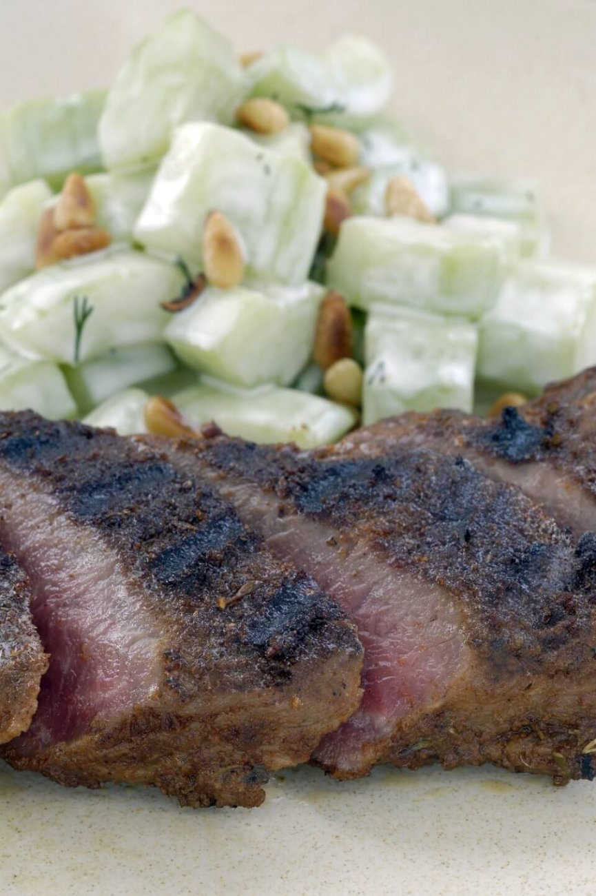 BARBECUED CAJUN LAMB BACKSTRAP WITH CUCUMBER AND DILL SALAD