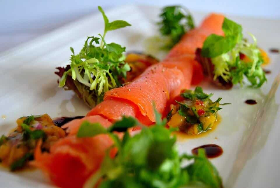 APPLE CURED SALMON WITH GREEN PAPAYA AND LIME SALSA AND MICRO HERBS
