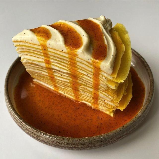 Saffron and Sea Buckthorn Crepe Cake with Vanilla Buttercream