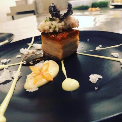 This is a delicious and extravagant pork belly recipe with XO sauce, avocado puree, cauliflower puree, cauliflower couscous, and black & white rice crackers provided by Chef Jiju Rajappen of Sheraton Samoa.