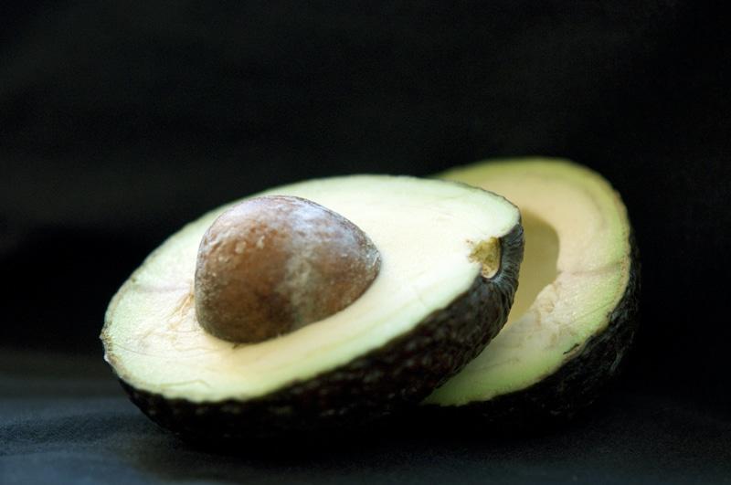 avocado sliced in two