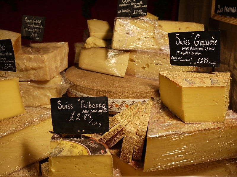 a few types of Swiss cheese