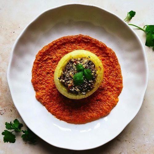Quinoa Stuffed Onions with Romesco Sauce