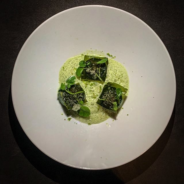 Green monochrome with cucumber, miso, tarragon and a cumbava granité