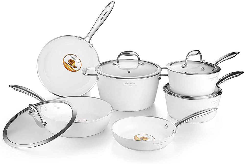AMERICOOK Pots and Pans Set, 10pc Ceramic Nonstick White Cookware Set with Glass Lids & Stainless Steel Handles