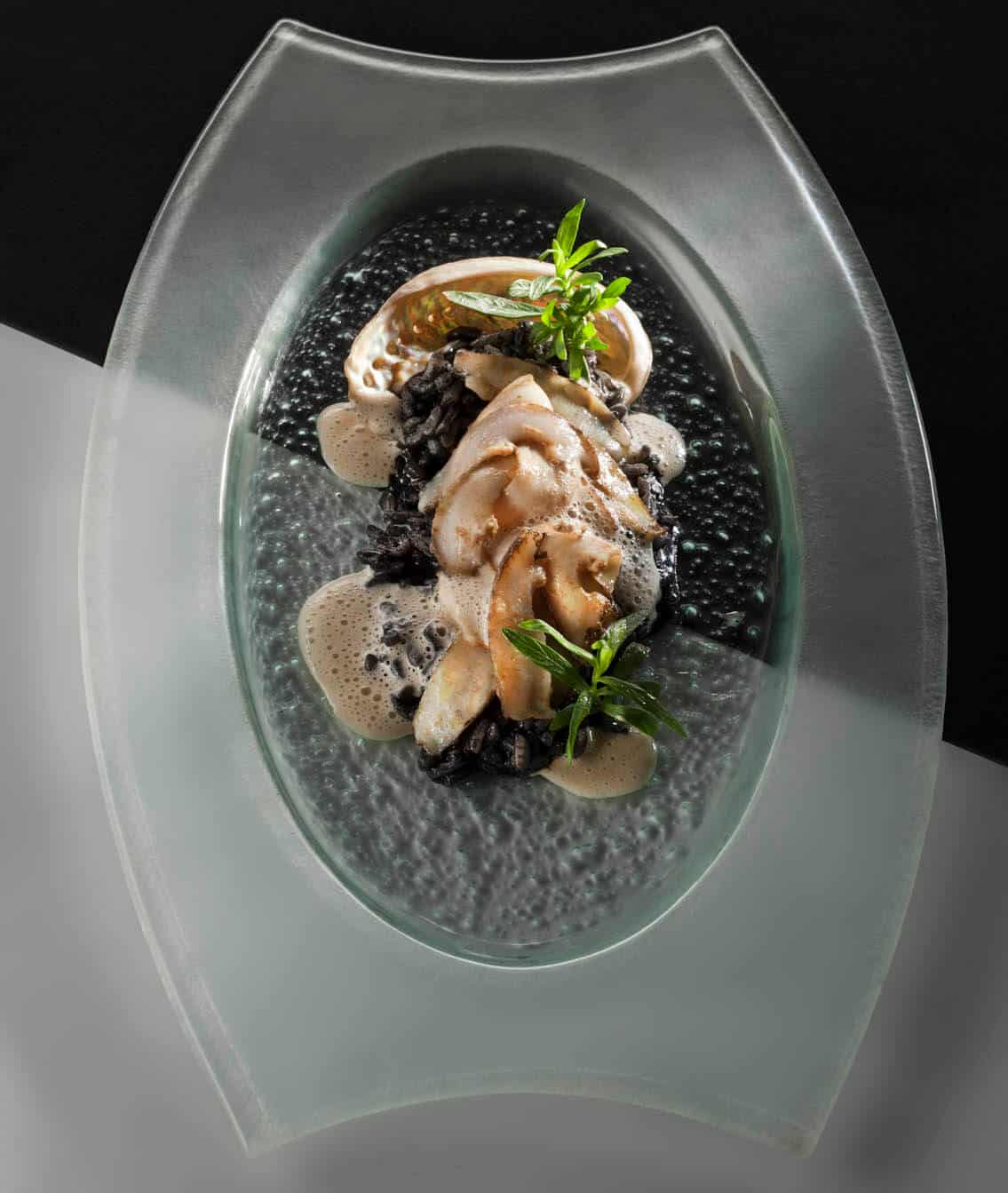 Pan-seared Abalone with Squid-Ink Risotto